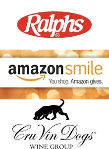 Red Ralphs logo, orange Amazon Smile logo, black and white Cru Vin Dogs Wine Group logo