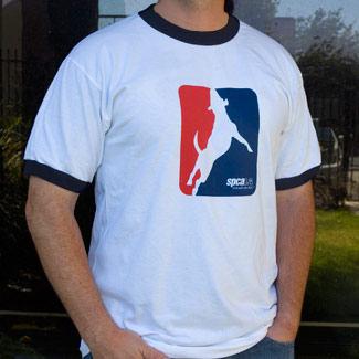 man wearing a t shirt with a white outline of a dog on it and the spcaLA logo