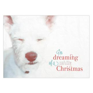 Card with white terrier on it that says I'm dreaming of a white Christmas.