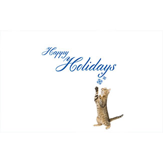 Happy holidays card with a brown cat