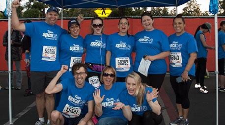 spcaLA team at the LA Marathon and 5K Run under blue canopy