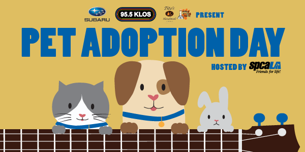 Subaru, 95.5 KLOS, and Tito's Handmade Vodka presents Pet Adoption Day hosted by spcaLA. Illustration of cat, dog, and rabbit hanging over neck of guitar.