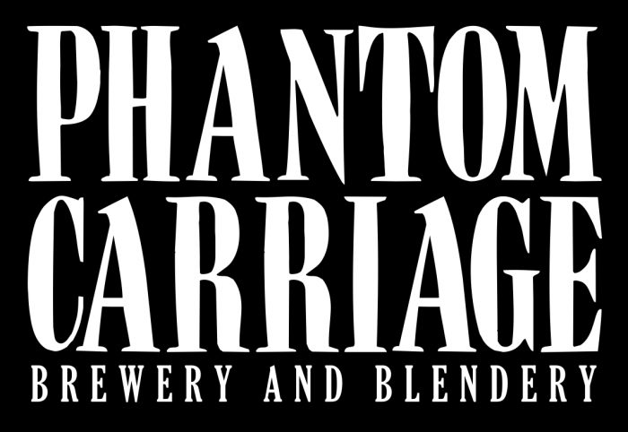 Black and white Phantom Carriage Brewery and Blendery logo