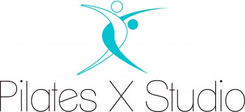 Light blue and white intertwined vertical boomerangs on top of text 'Pilates X Studio'
