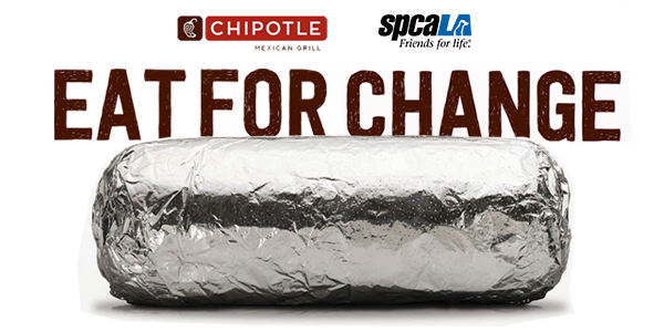 Chipotle logo and spcaLA logo. Eat for Change text over foil burrito photo