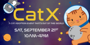 CatX. A cat adoption event that's out of this world. Sat, September 21st 10am-4pm. Cartoon cats in astronaut helmets floating around planets and stars in a purple galaxy.