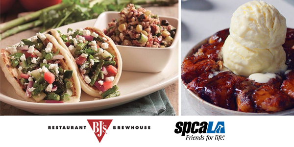 Vegetarian tacos and pizookie with scoop of ice cream on top. BJ's Restaurant and Brewhouse logo and spcaLA logo