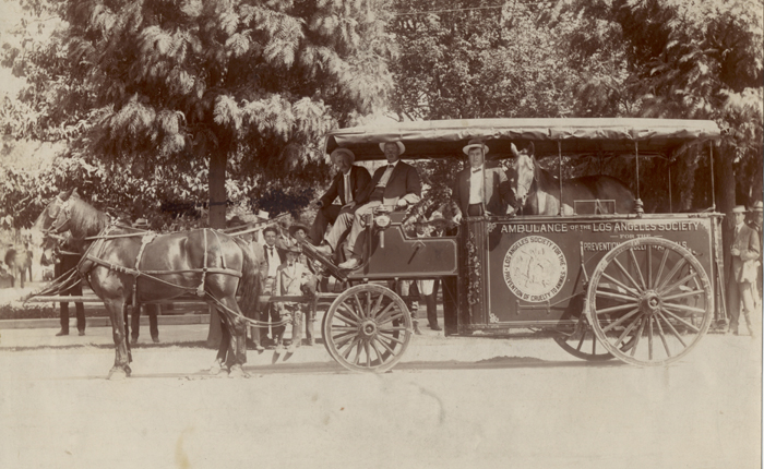 Black and white photo of horse pulled ambulance with three men sitting in the carriage