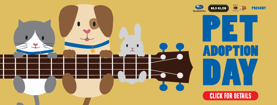 Subaru, 95.5 KLOS, and Tito's Handmade Vodka presents Pet Adoption Day hosted by spcaLA. Illustration of cat, dog, and rabbit hanging over neck of guitar. 'Click for details' button