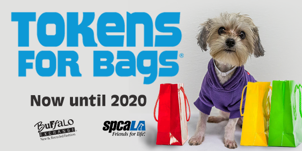 Tokens for Bags now until 2020. Buffalo Exchange logo and spcaLA logo. Small dog wearing purple shirt surrounded by shopping bags