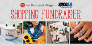 Ten Thousand Villages logo and spcaLA logo. Text: Shopping Fundraiser. Cat shaped mug, blue and white scarf on woman wearing yellow holding sunflowers, journal with dog cartoons on cover, woven texture ring on person's middle finger.