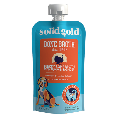 Solid Gold Turkey Bone Broth with Pumpkin & Ginger Topper 8 oz