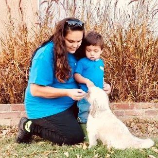 mother son dog training