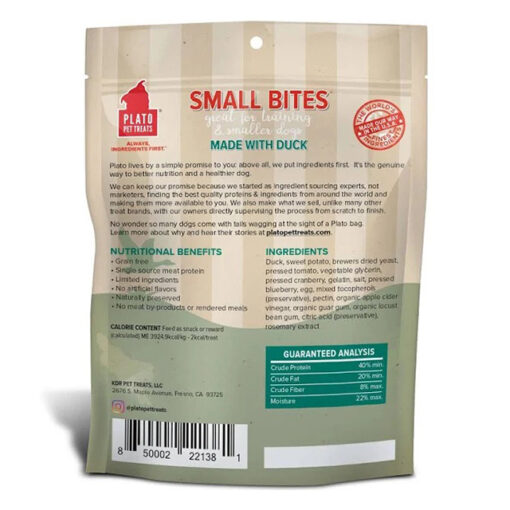 Plato Small Bites Duck Grain-Free Dog Treats Back