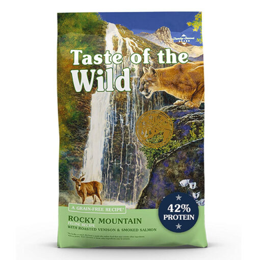 Taste of the Wild Rocky Mountain Grain-Free Roasted Venison & Smoked Salmon Dry Cat Food, 14 lbs.