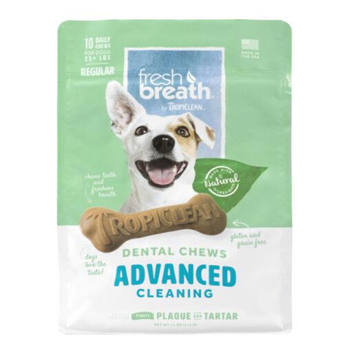 TropiClean Fresh Breath Advanced Regular Dental Chews for Dogs 12oz Count of 10