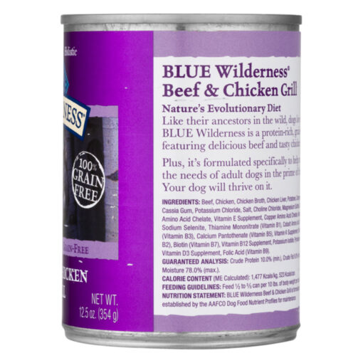 Blue Buffalo Blue Wilderness Dog Natural Beef & Chicken Grill Can 12-5oz Side A