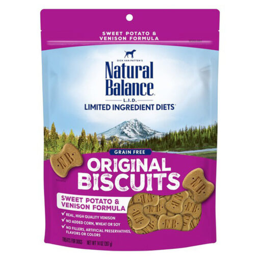 Natural Balance LIT Limited Ingredient Treats Sweet Potato Venison Formula Dry Dog Treats 14oz Front