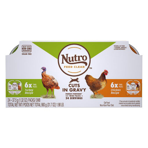 Nutro Turkey & Chicken Cuts Gravy Recipe Cat 2-65oz 12 twinpk box