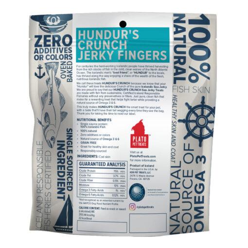 Plato Hundur's Crunch Jerky Fingers Fish Dog Treats 3-5 oz Back