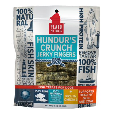 Plato Hundur's Crunch Jerky Fingers Fish Dog Treats 3-5 oz Front