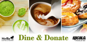 Dine and Donate Stella & spcaLA matcha green tea latte, latte, assortment of baked goods
