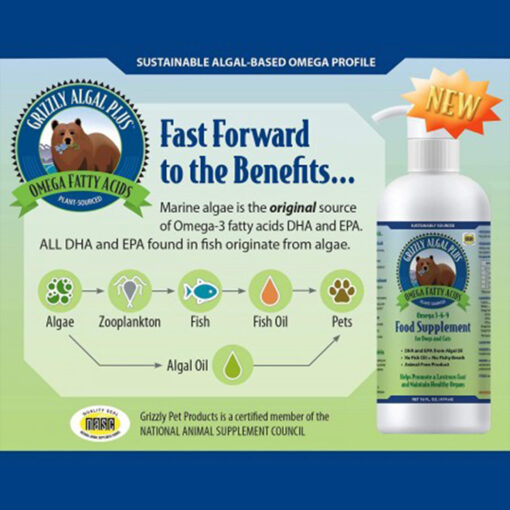 Grizzly Pet Products Algal Plus Omega Fatty Acids Food Supplement for Dogs and Cats 32 OZ info