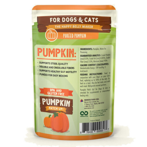 Weruva Pumpkin Patch Up Pumpkin Puree DogCat Food Supplement Pouches 2-8 OZ back