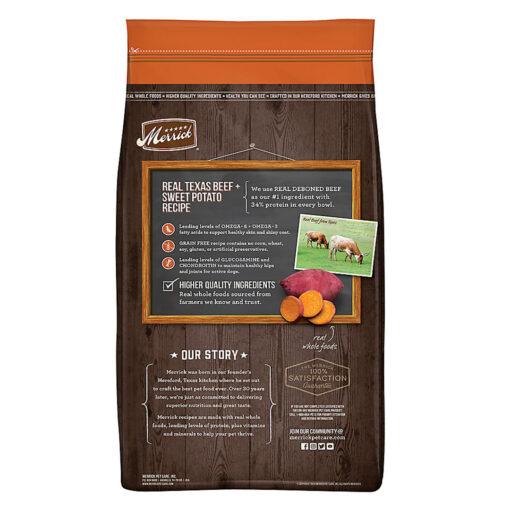 Merrick Real Beef Sweet Potato Adult Dog Food 30LB back