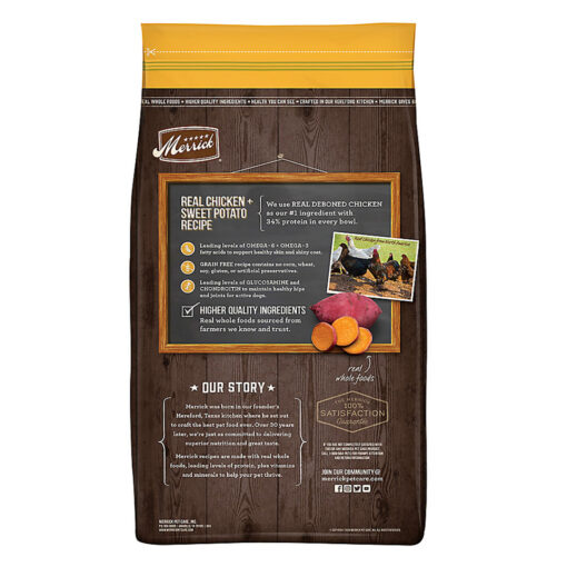 Merrick Real Chicken Sweet Potato Adult Dog Food 30LB back