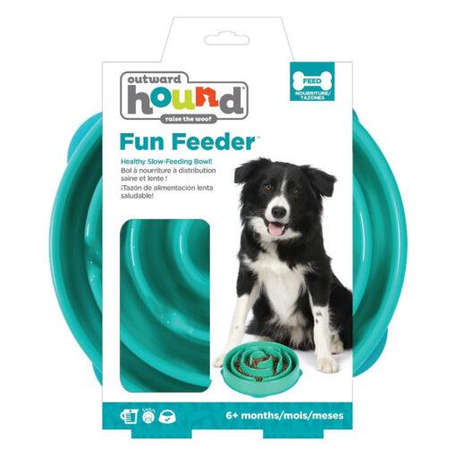 Outward Hound Fun Feeder Dog Bowl Large Teal package
