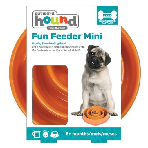 Outward Hound Fun Feeder Dog Bowl Small Orange package