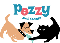 Pezzy Pet treats logo of a cat and dog eating a fish