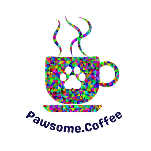 Coffee up with paw print in the middle